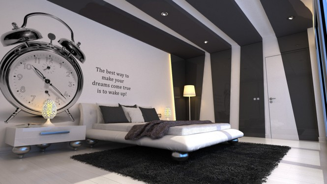 Grey-and-white-bedroom-with-insipiration-wall-quote-665×374