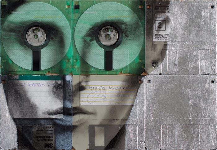 Decoration portrait sur disquettes