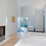 Maison design pres de New York chambre avec cheminee