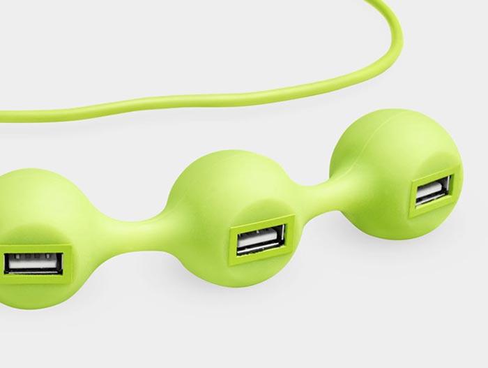 Peas USB Hub vert