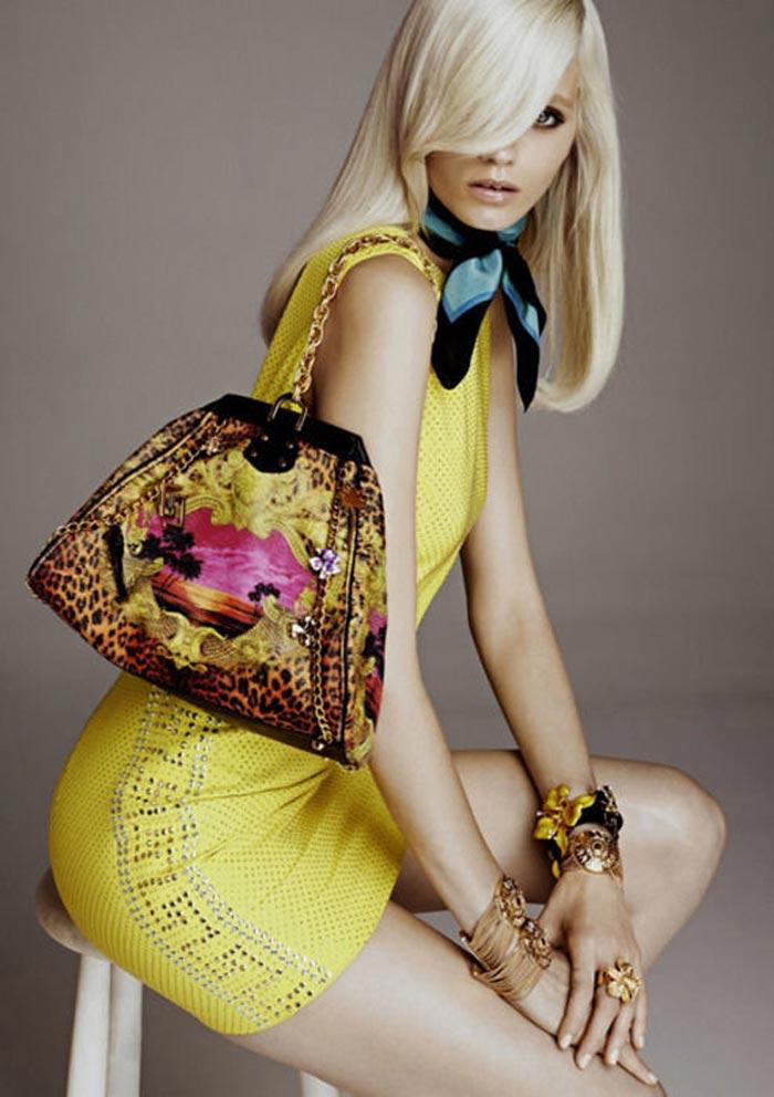 Versace for H&M robe jaune et sac leopard