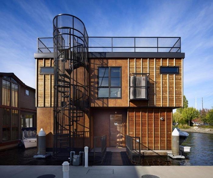 Maison design flottante-Acces terrasse