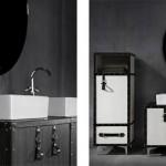 Meuble de salle de bain en forme de malle de voyage