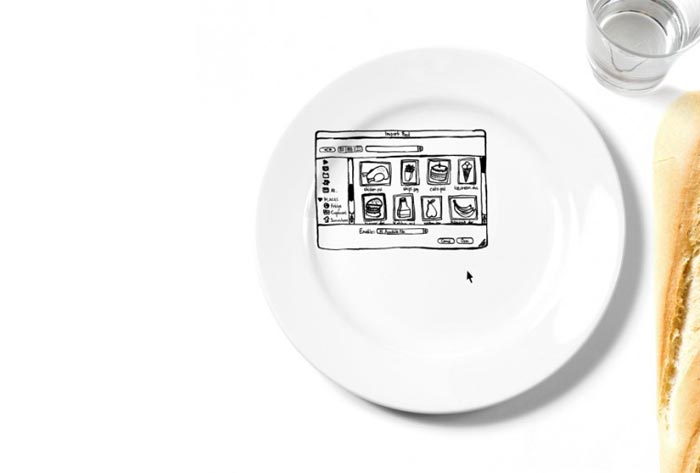Assiette design iPlate inspiree par Photoshop