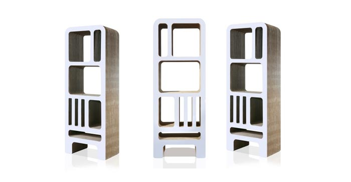 bibliotheque design en carton blanche arkko. Black Bedroom Furniture Sets. Home Design Ideas