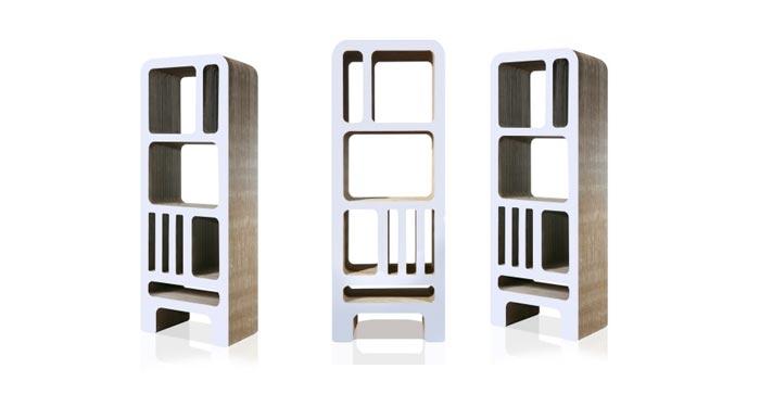 Bibliotheque design en carton blanche