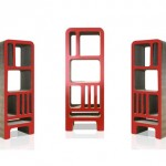 Bibliotheque design en carton rouge