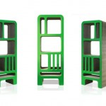 Bibliotheque design en carton verte