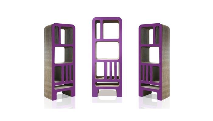 Bibliotheque design en carton violette