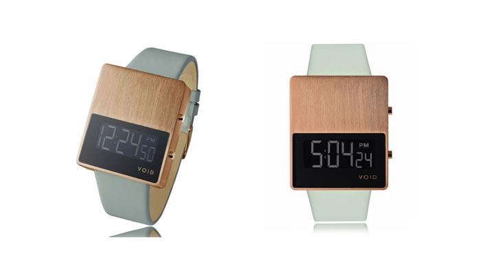 Montre design VOID V01 vert pale avec cadran bois