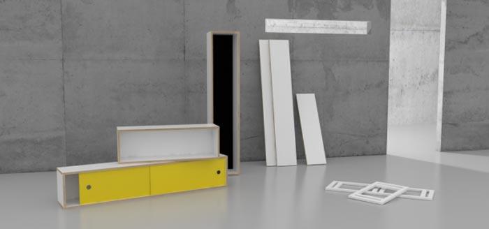 Systeme avec etageres design et modulables