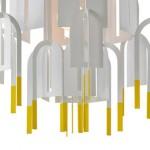 Lustre design Rhizome avec bouts jaunes