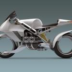 Moto a double roue arriere