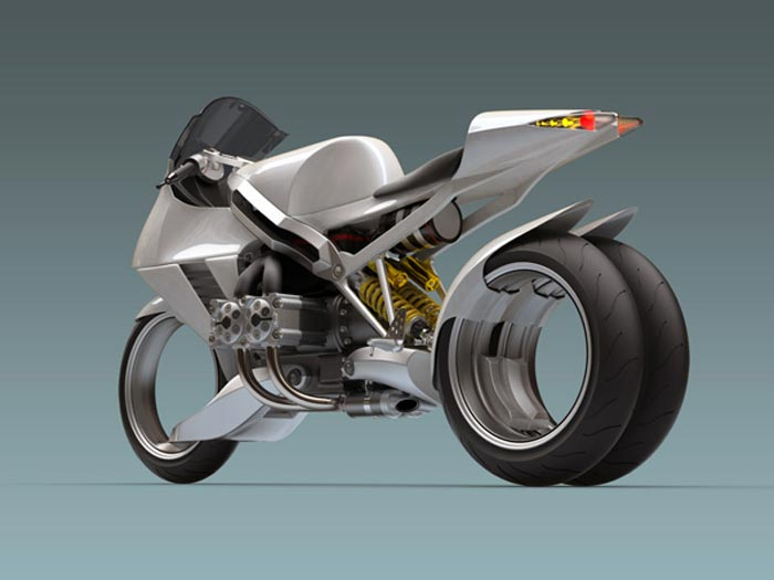 Moto design FB R200S avec deux roues arrieres