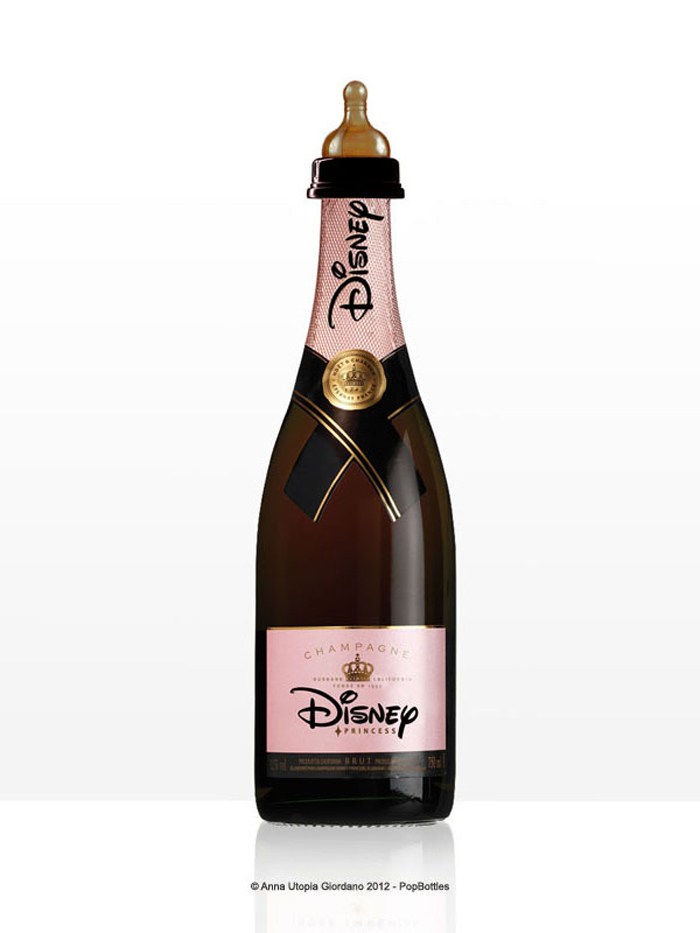 Biberon en forme de bouteille de champagne