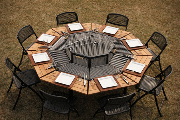 table de jardin avec barbecue int gr 8 personnes. Black Bedroom Furniture Sets. Home Design Ideas