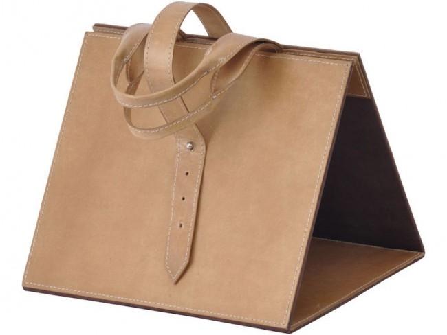 porte-revues cuir en forme de sac