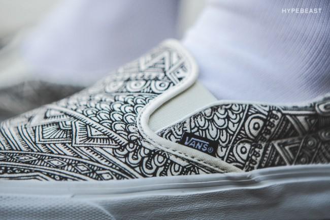 Chaussures Vans noir et blanches plates