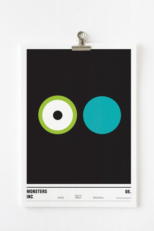 Affiche minimaliste Monstres et cie