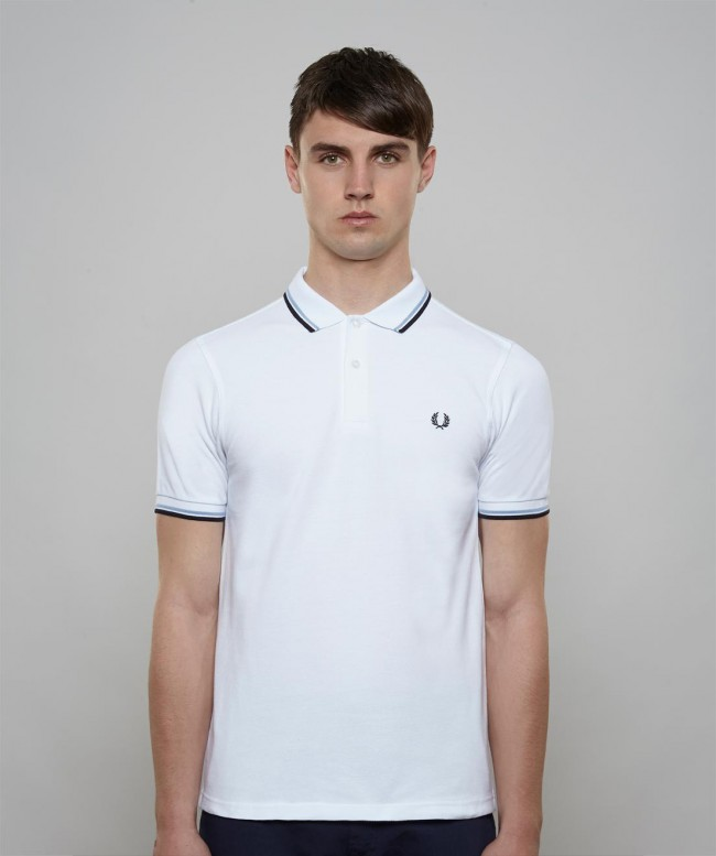 Polo Fred Perry Blanc Bleu Homme