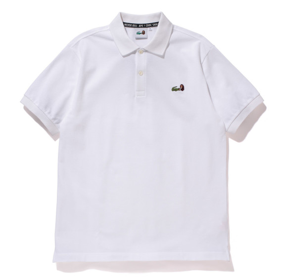 polo blanc collection capsule lacoste a bathing ape