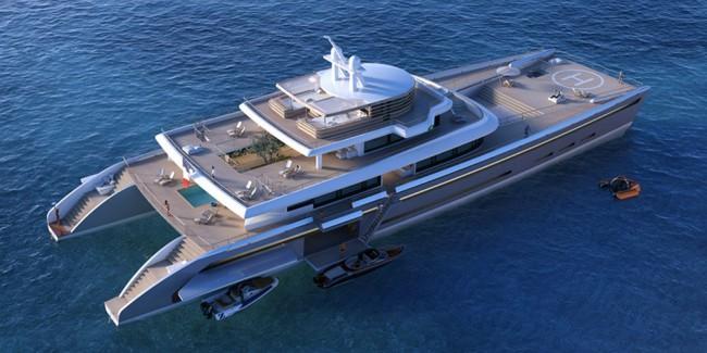 Yacht de luxe avec héliport