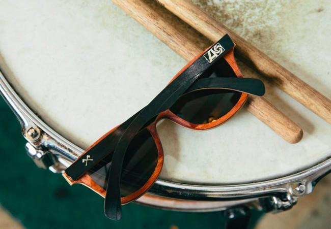 lunettes en bois et vinyle