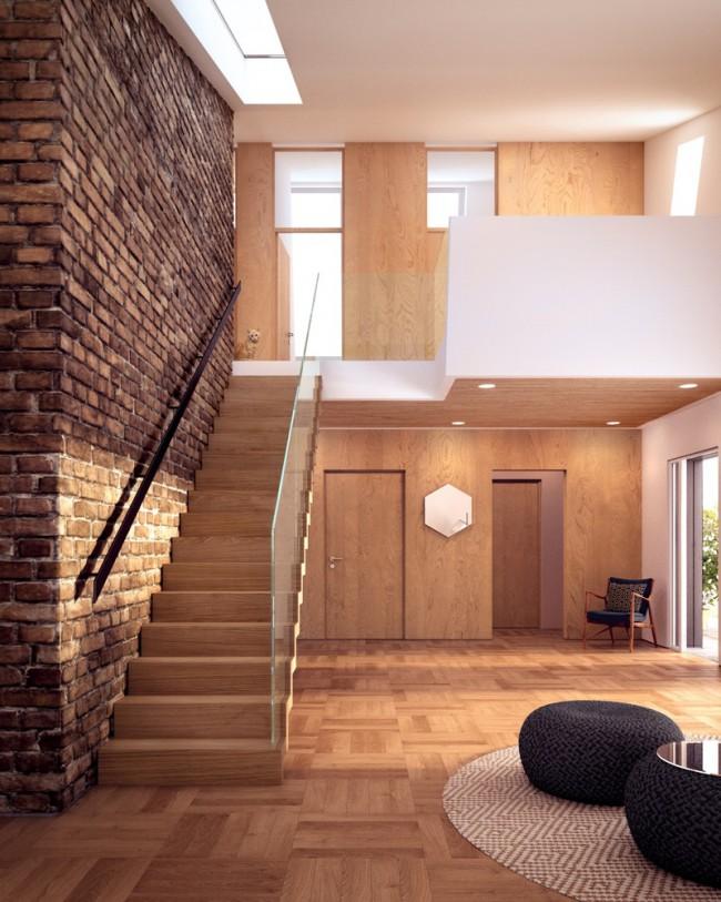 Intérieur design bois et briques