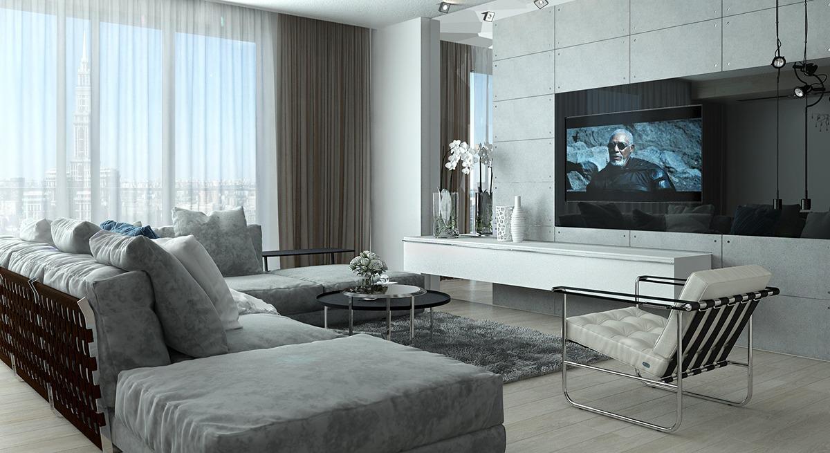 D coration appartement tons gris arkko for Appartement design gris