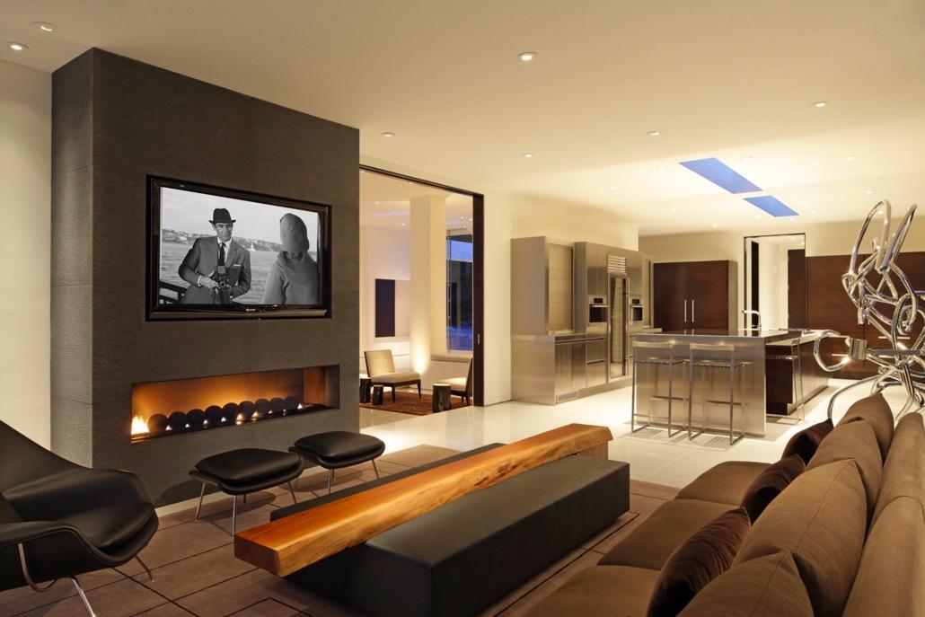 Chemin e encastr e sous t l arkko for Decoration foyer electrique et television