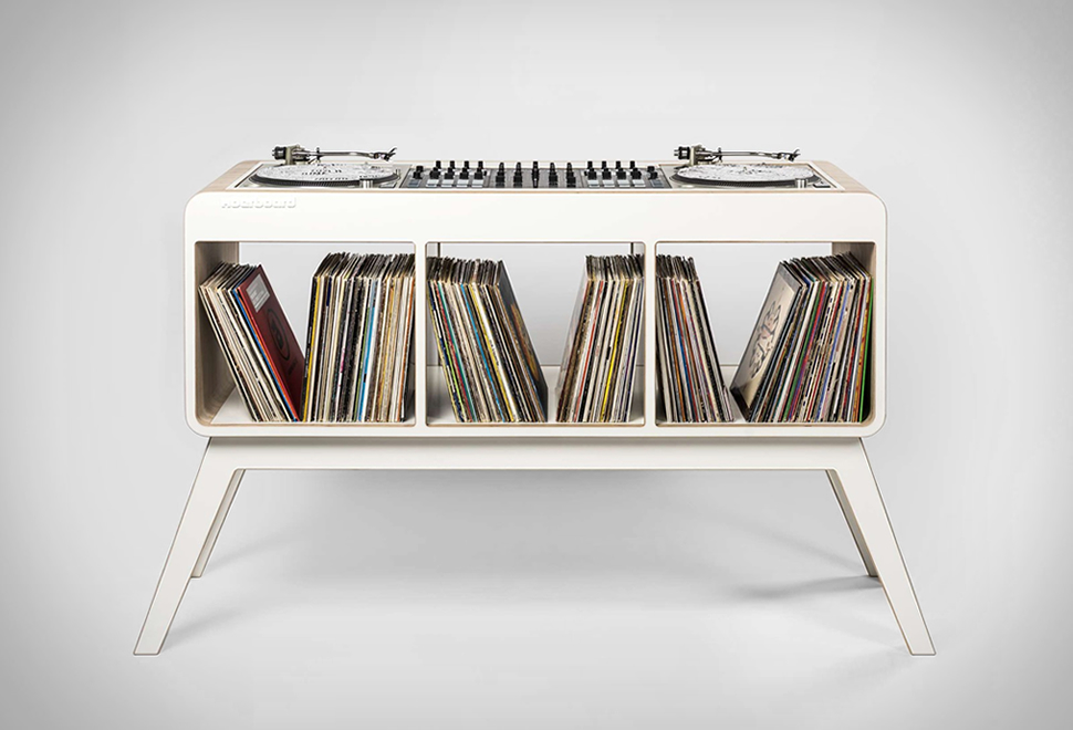 hoerboard meuble retro pour platines et disques vinyles. Black Bedroom Furniture Sets. Home Design Ideas